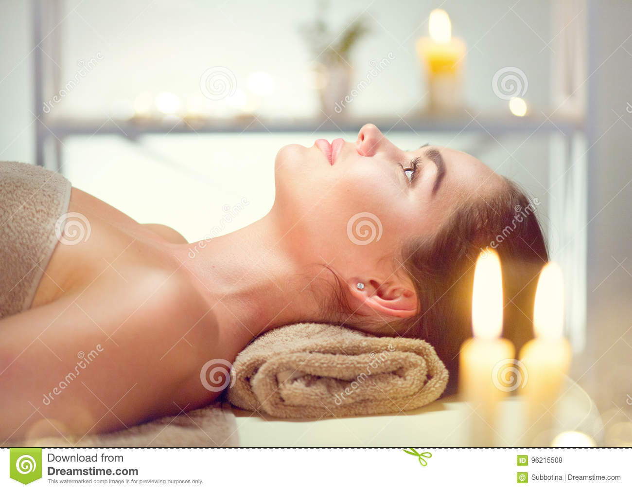 Spa. Beauty woman relaxing in spa salon