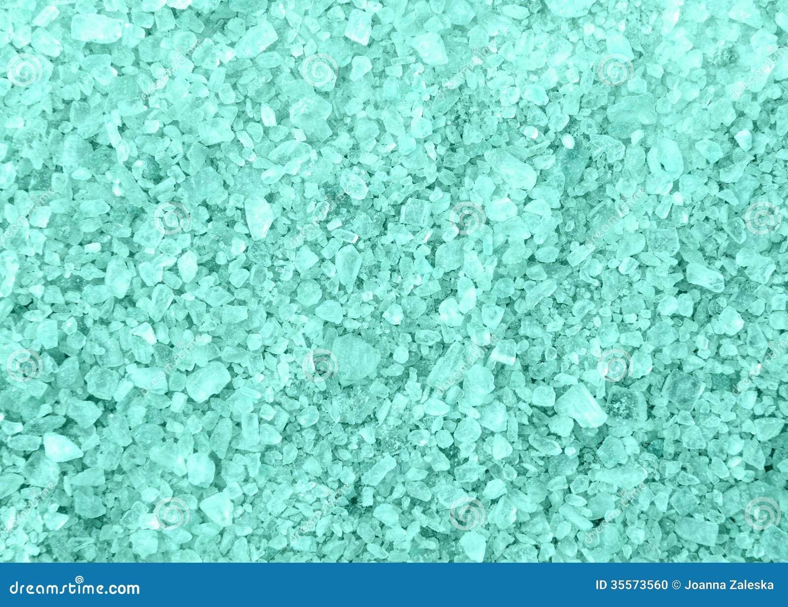 spa blue bath salt crystals background texture stock photo