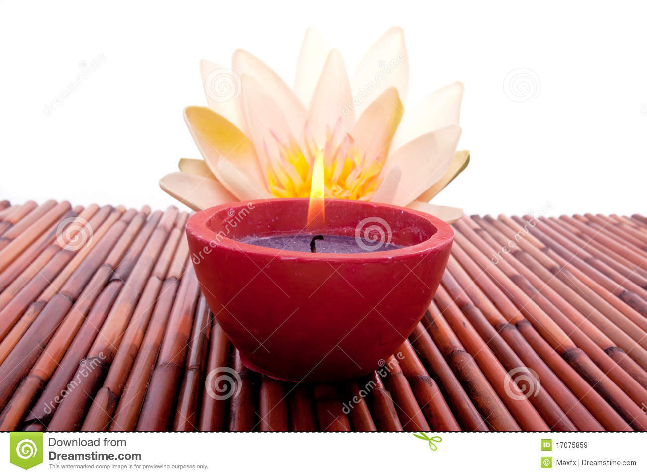 Spa Candle And Lotus Flower For Aromatherapy Stock Image Image Of