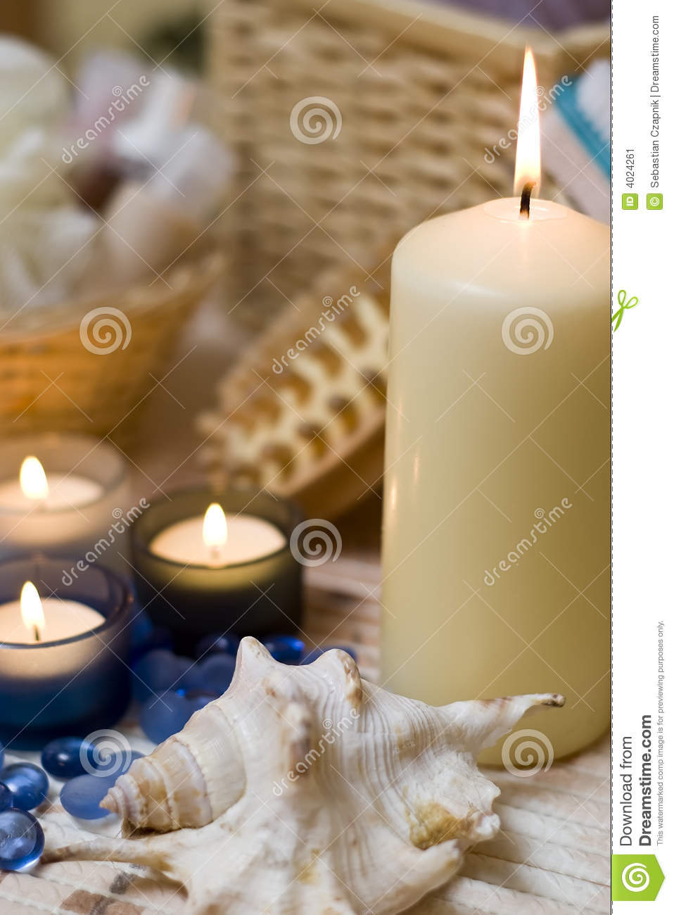 Spa candles and shell