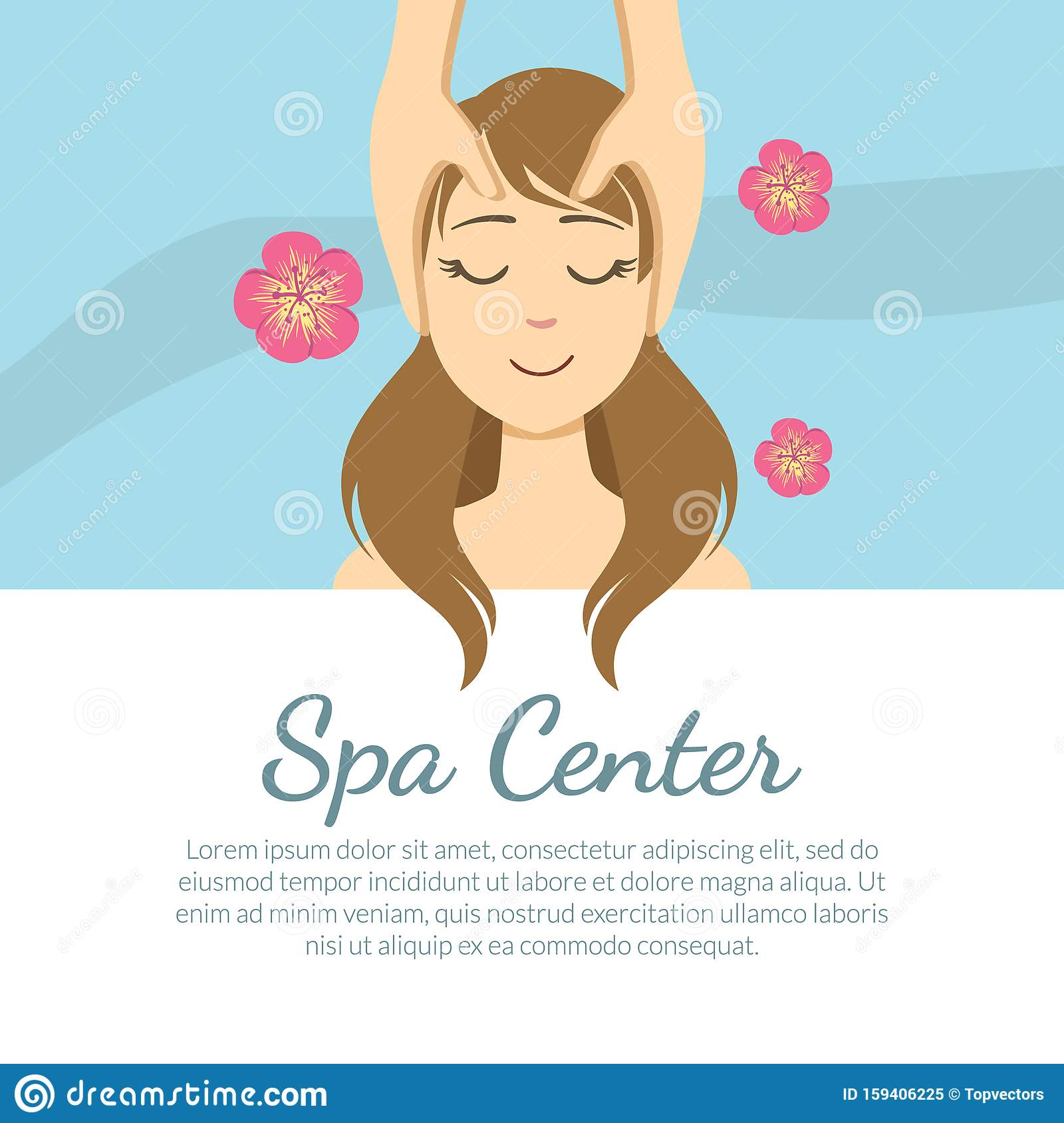 Spa Center Banner Template With Space For Text Young Woman Getting Face Massage Facial Treatments Vector Illustration Stock Vector Illustration Of Information Banner 159406225