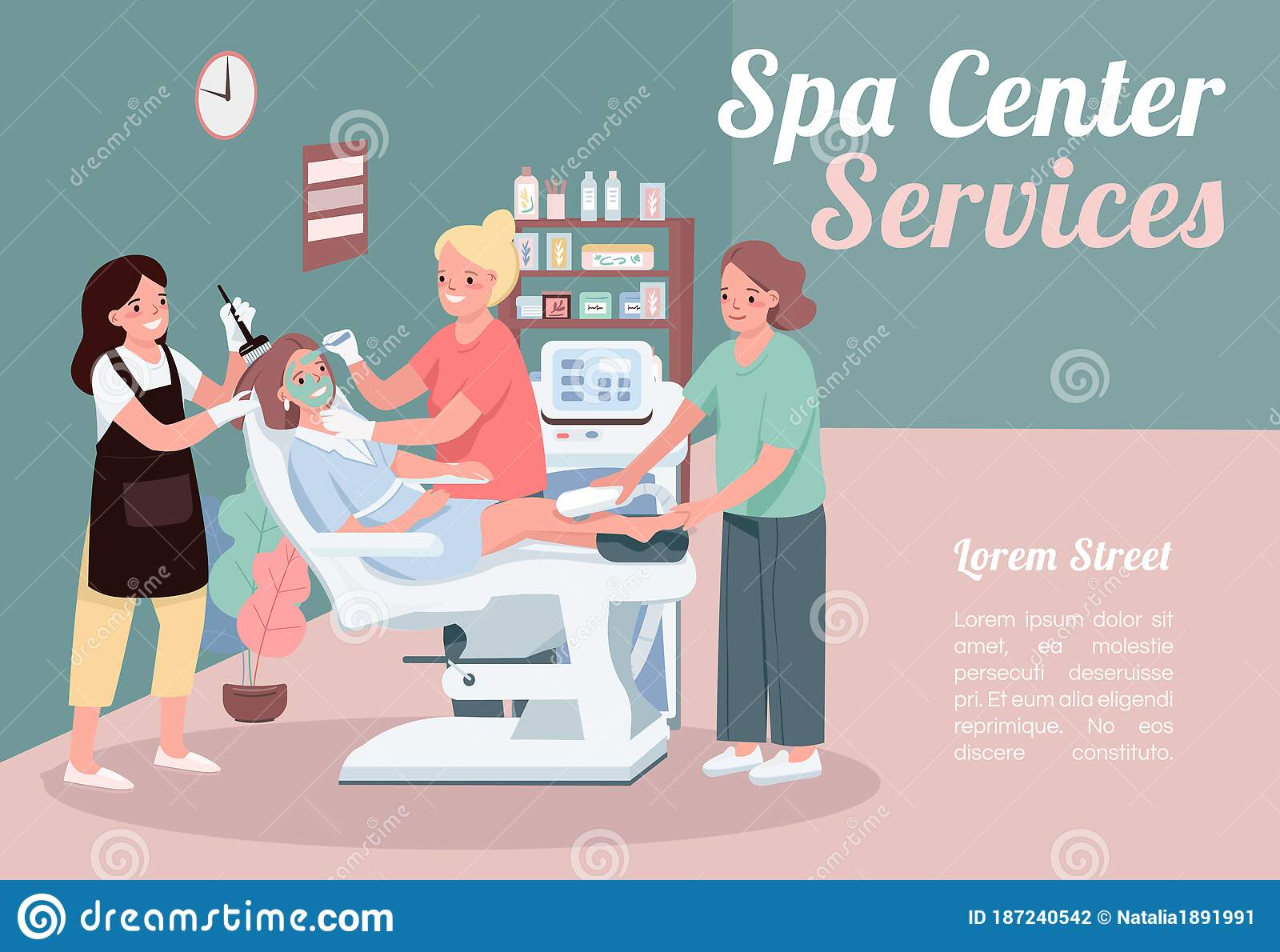 Spa Center Services Banner Flat Vector Template Stock Vector Illustration Of Hair Cosmetology 187240542
