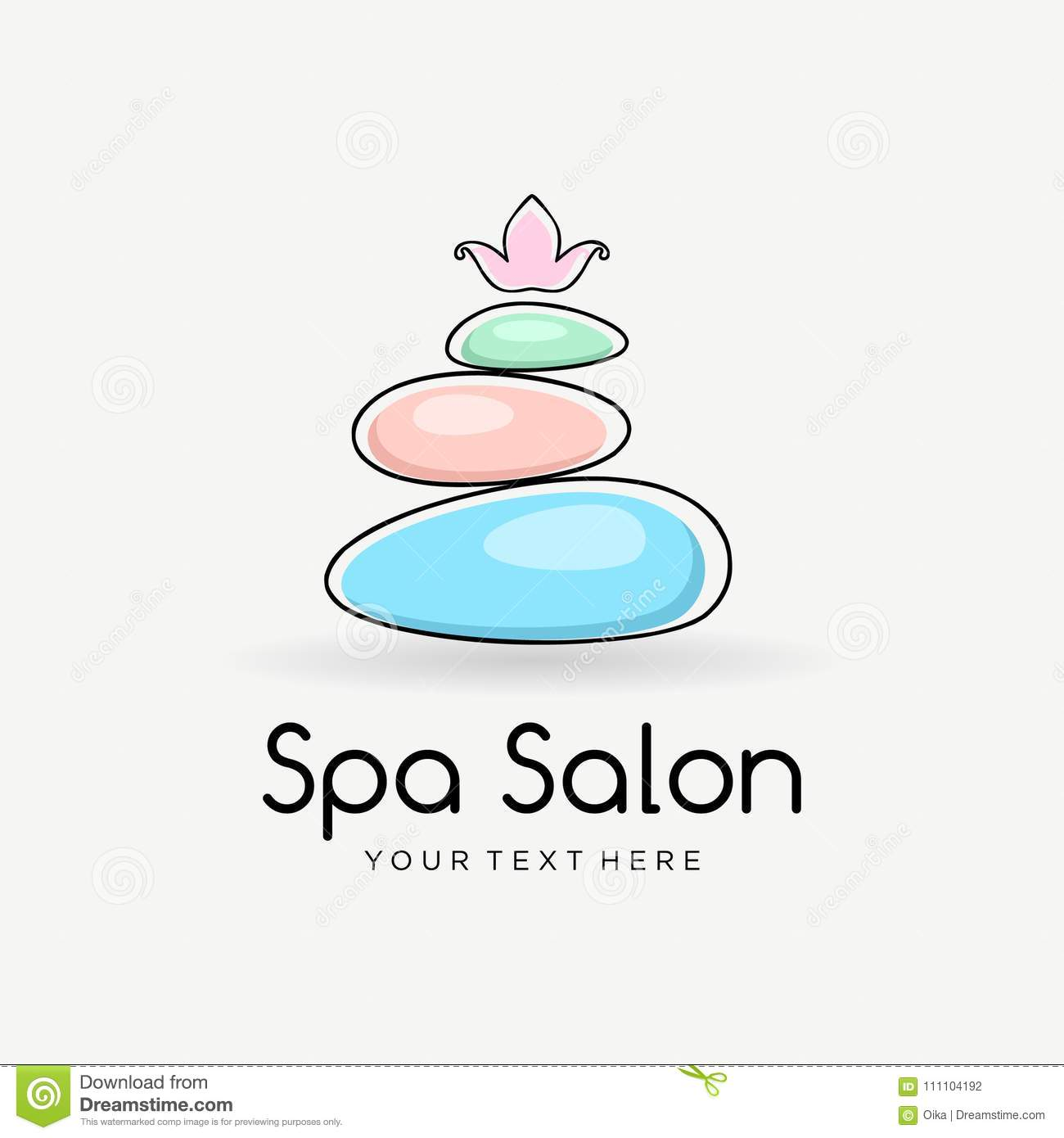 Spa Color Logo Template For Beauty Salon Or Yoga Center With Spa