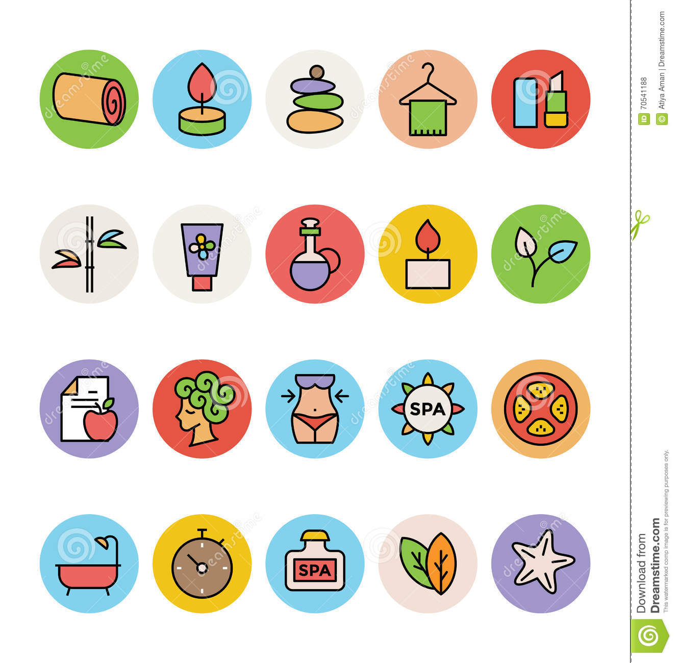 SPA Colored Vector Icons 3 Stock Illustration. Image Of