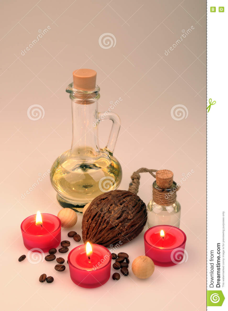 Spa Composition Scented Candles Coffee Beans Aromatic Wooden Balls Stock Photo Image Of Cream Massge 76037702