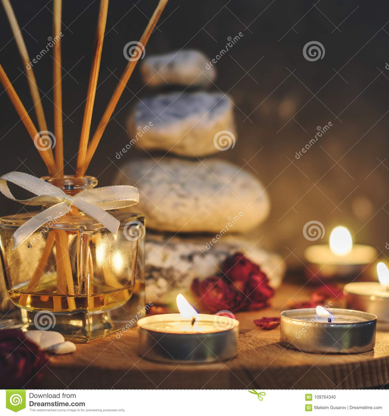 spa composition stones candles aromatherapy dry flowers stock