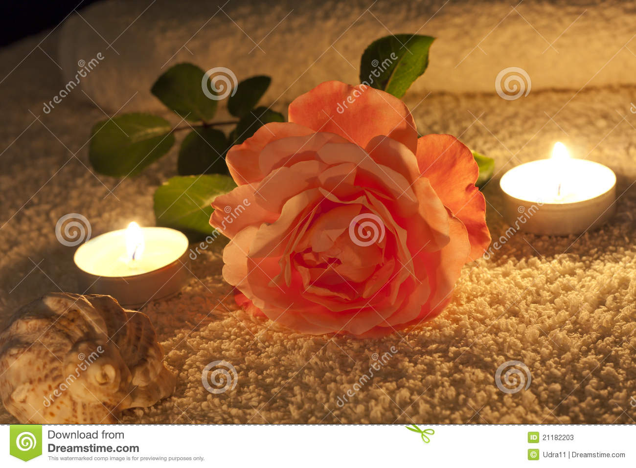 Spa concept in night with rose