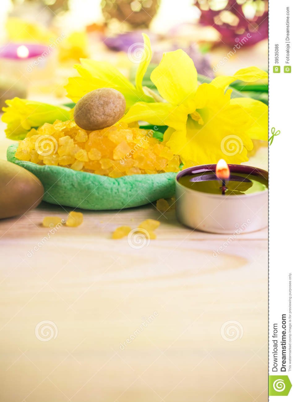 Spa concept scented candle salt bath stock photo image for Spa smelling candles