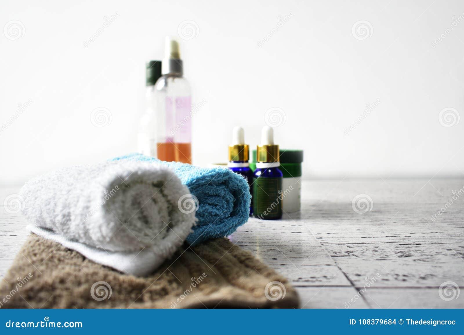 Spa concept towels oils body scrub pamper beauty wellness hygiene