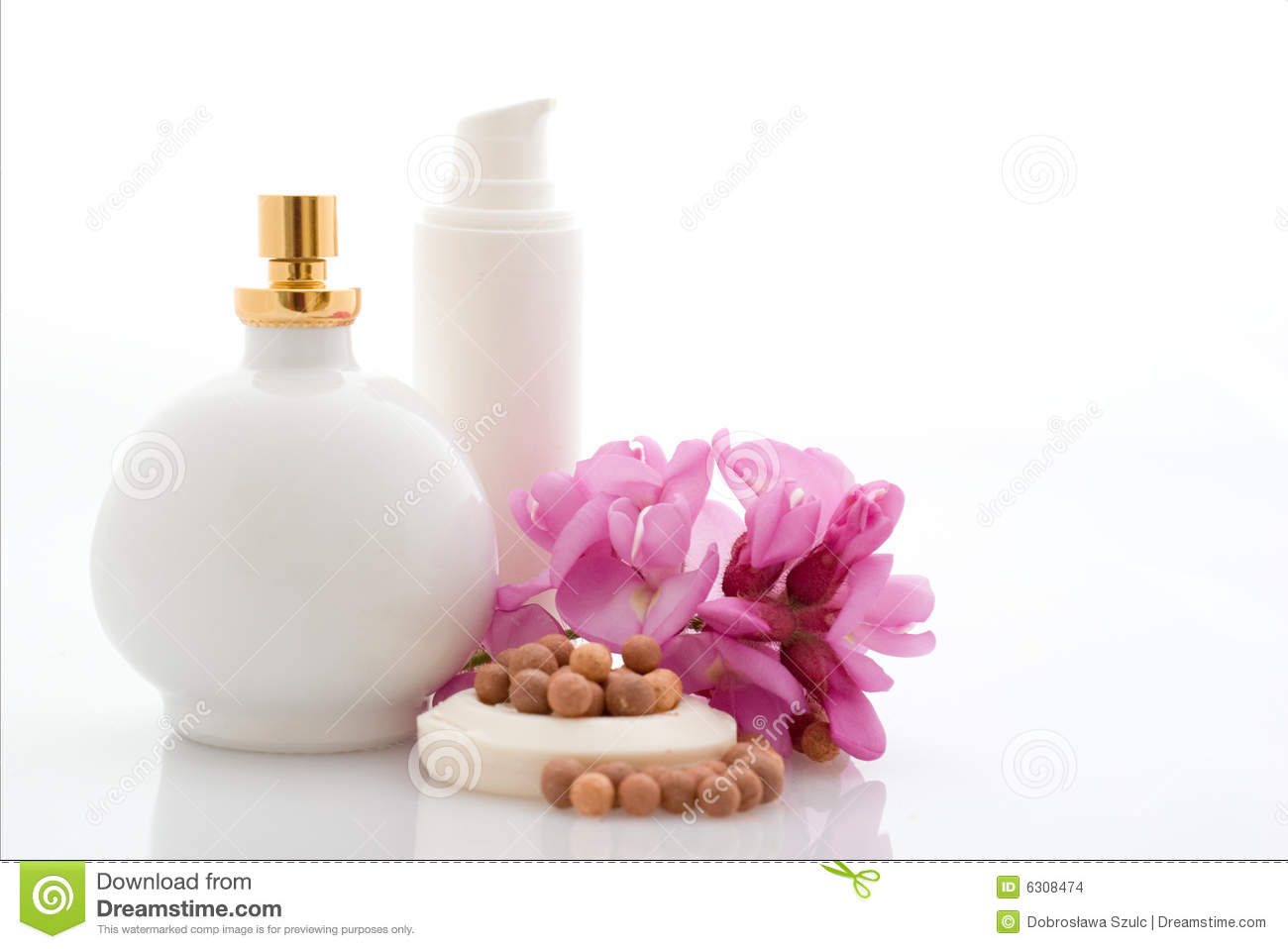 Spa Cosmetics With Flowers Stock Image