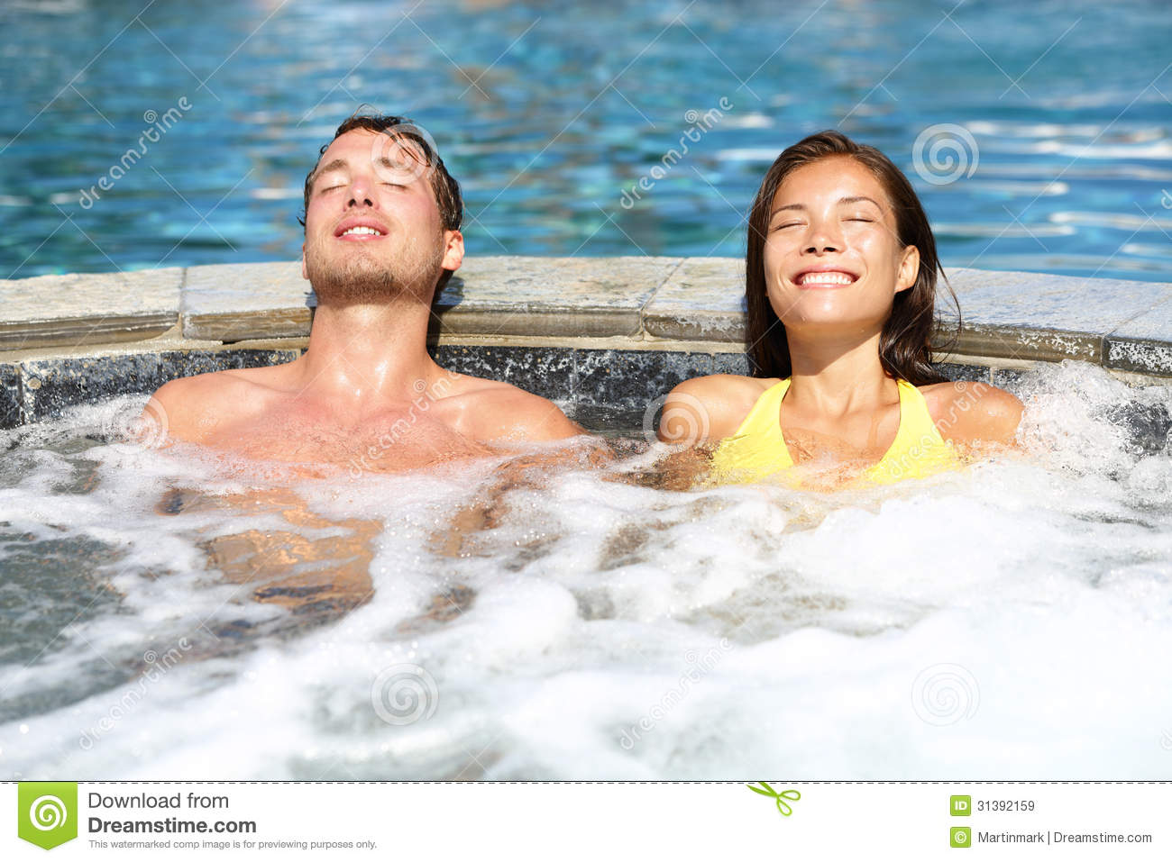 Spa couple relaxing enjoying jacuzzi hot tub royalty free for Health spa vacations for couples