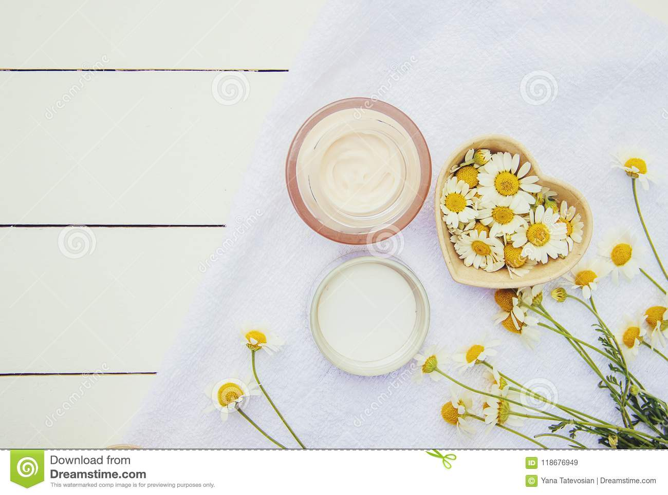 Spa and cream with chamomile extract.