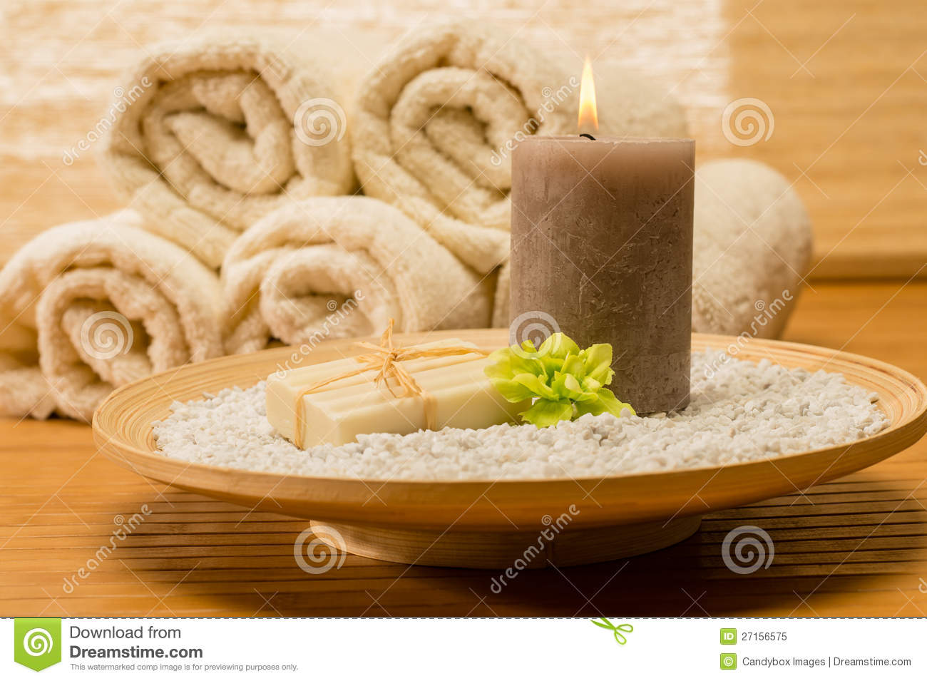 spa decor wooden tray with candle soap royalty free stock photo - Spa Decor