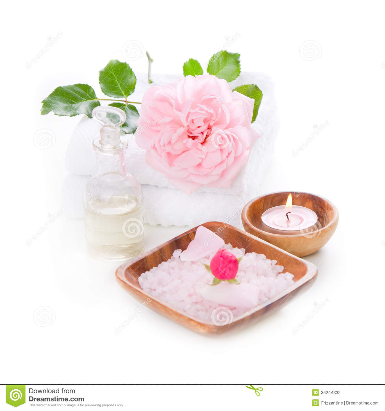spa decoration set with pink rose stock photography - image: 36244332