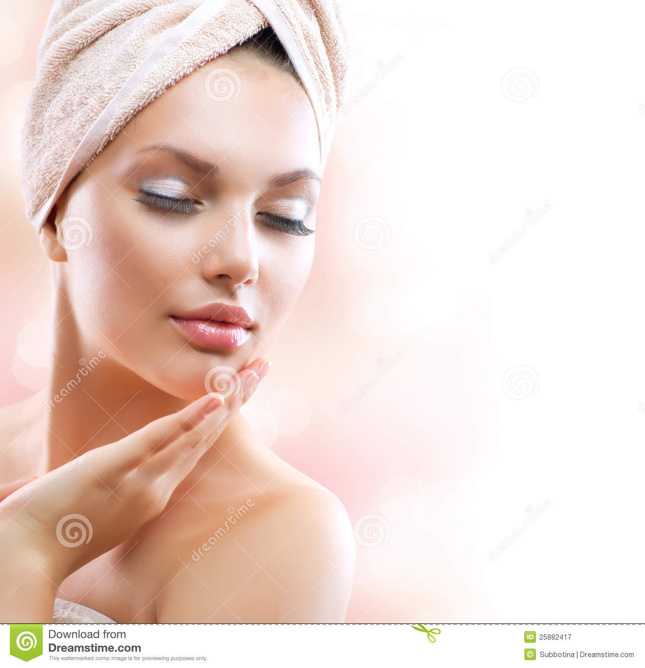 Spa Girl Skincare Stock Image Image Of Apply Bathroom 25882417