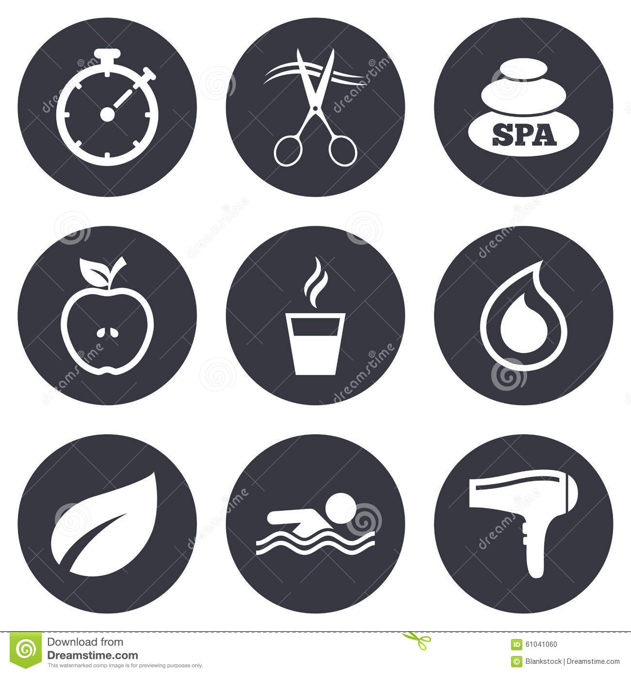 Spa hairdressing icons swimming pool sign stock vector spa hairdressing icons swimming pool sign biocorpaavc Choice Image