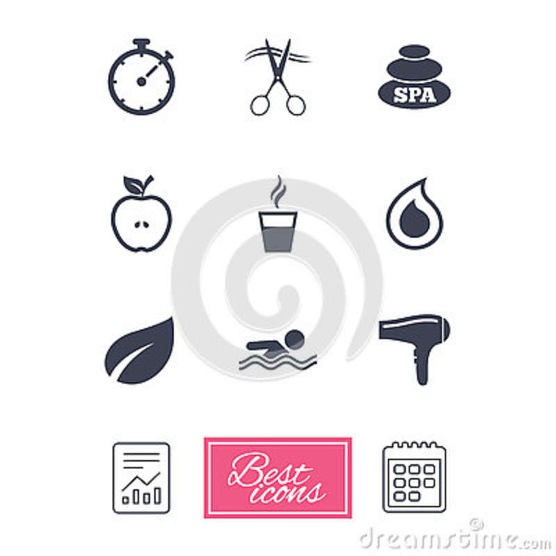 Swimming Pool Cleaning Symbols : Spa hairdressing icons swimming pool sign cartoon