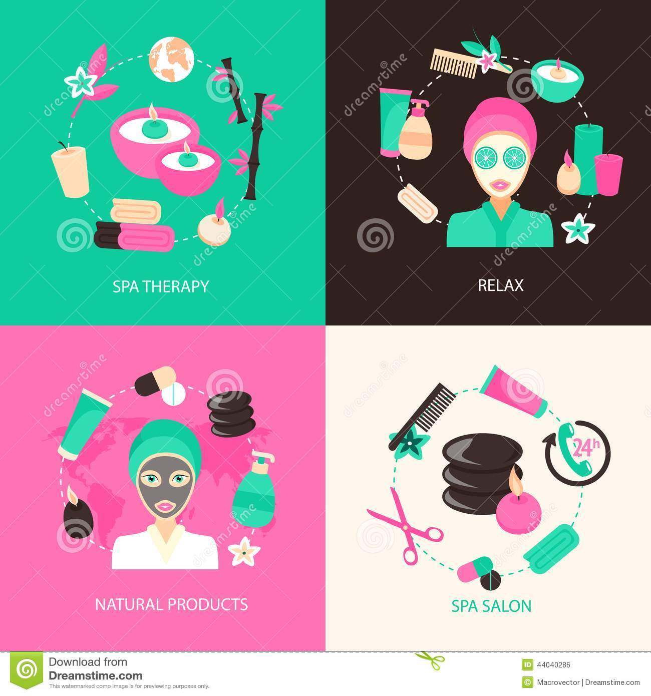 Spa icons concept stock vector image 44040286