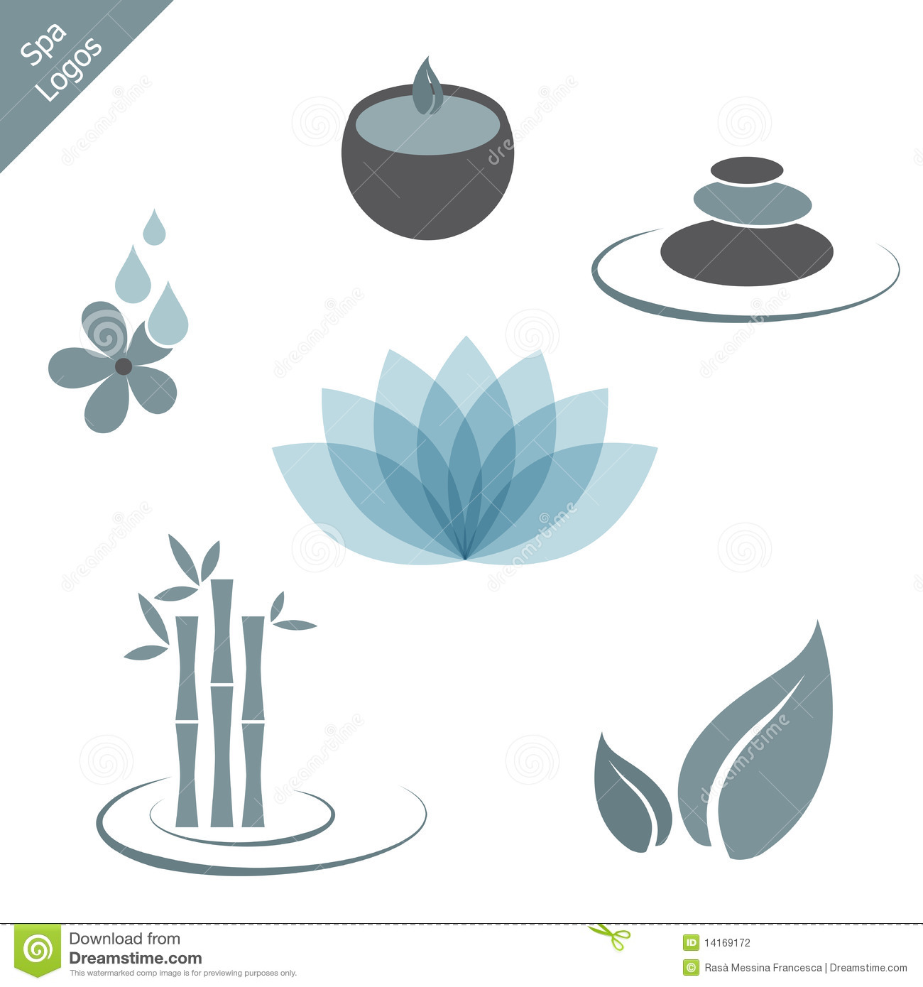 Collection of six spa logos or icons isolated on white background.EPS ...