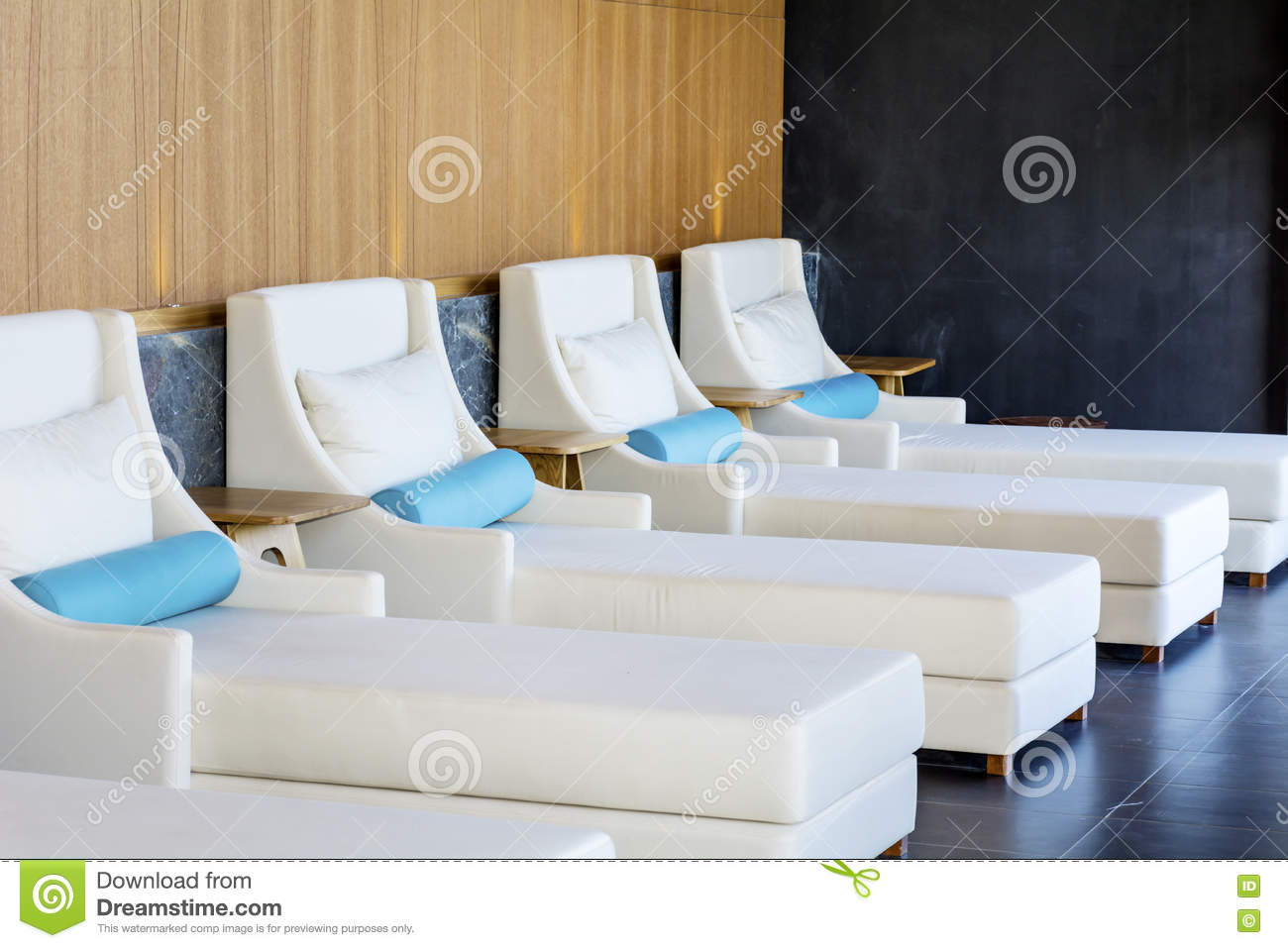 spa luxury white sunbeds stock photo image of massage 75302340