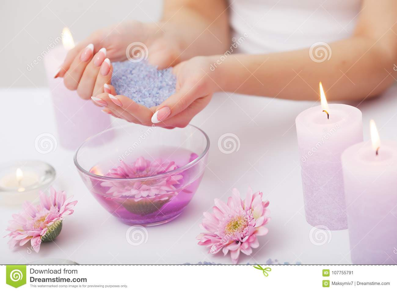 Spa Manicure. Woman Hands With Perfect Natural Healthy Nails Soaking ...