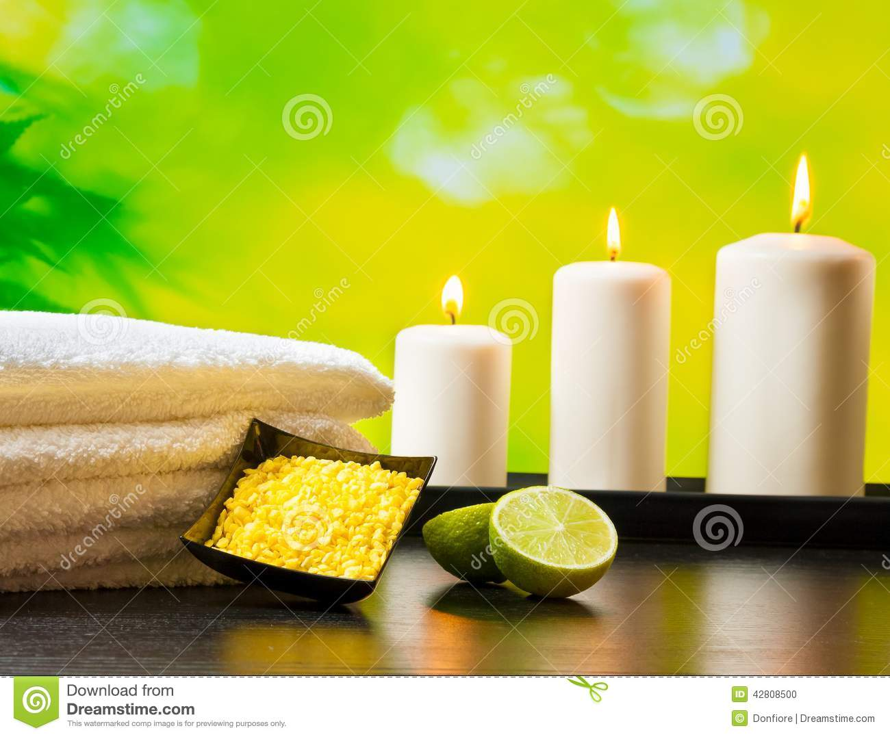 Spa Massage Border Background With Towel Stacked Sea Salt