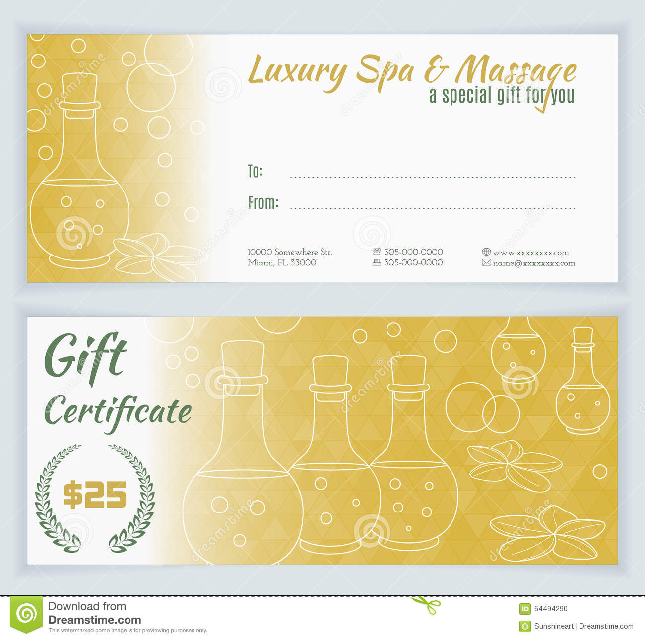 Spa massage gift certificate template stock vector illustration spa massage gift certificate template yadclub Images