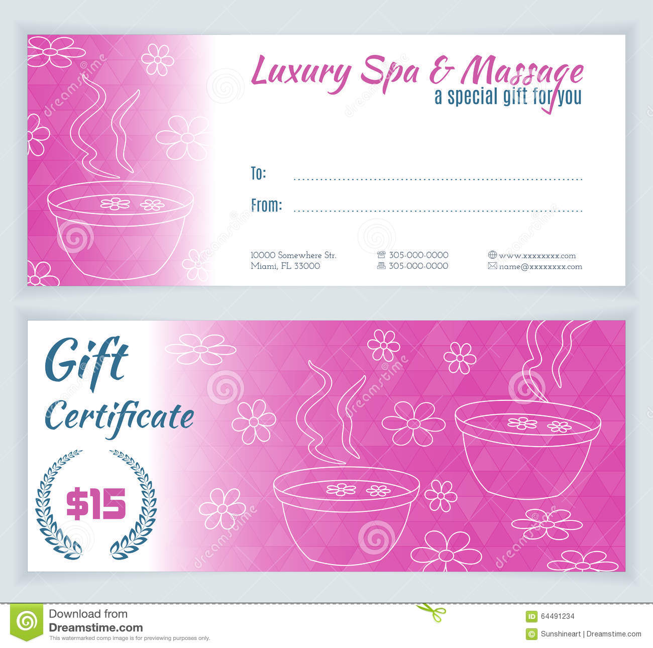 Spa, Massage Gift Certificate Template Stock Illustration ...