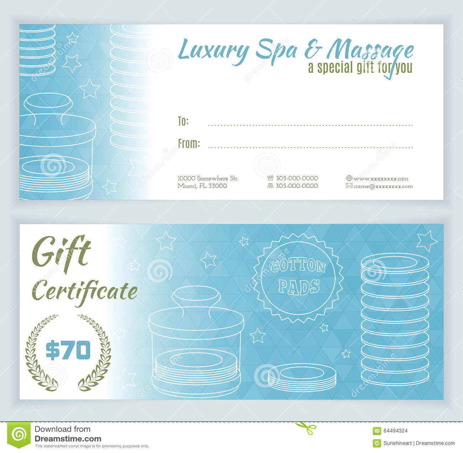 Spa Massage Gift Certificate Template Stock Vector Illustration