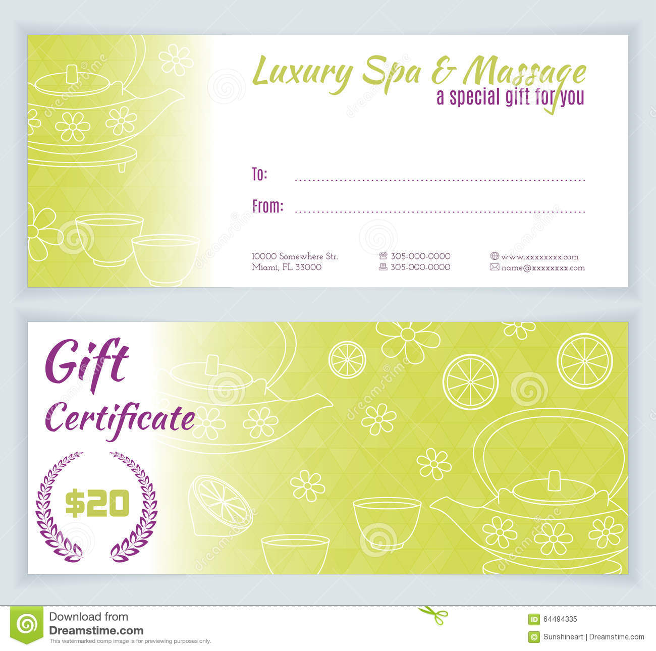 Spa massage gift certificate template stock vector image 64494335 spa massage gift certificate template xflitez Images