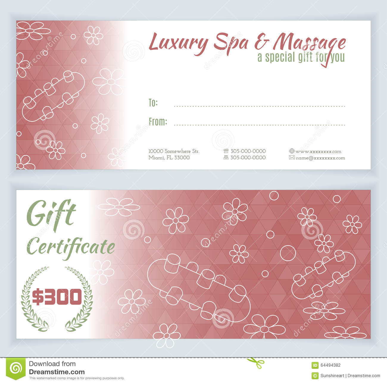 spa massage gift certificate template stock vector illustration