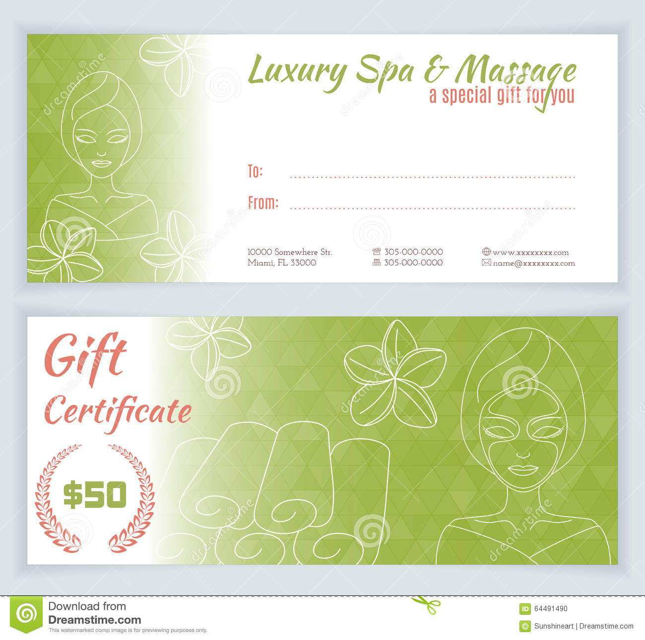 spa mask invitation template - spa massage gift certificate template stock illustration