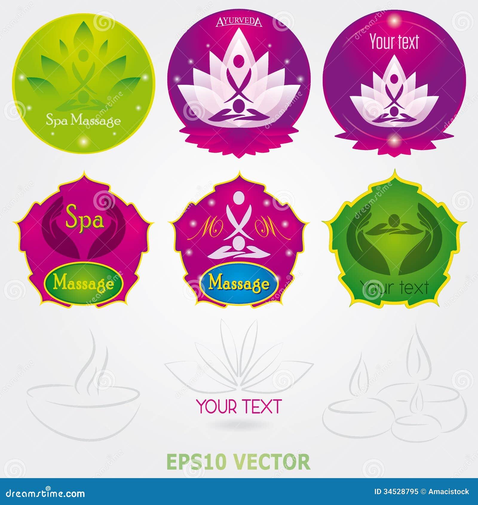 Set Of Yoga And Spa Logo Vector