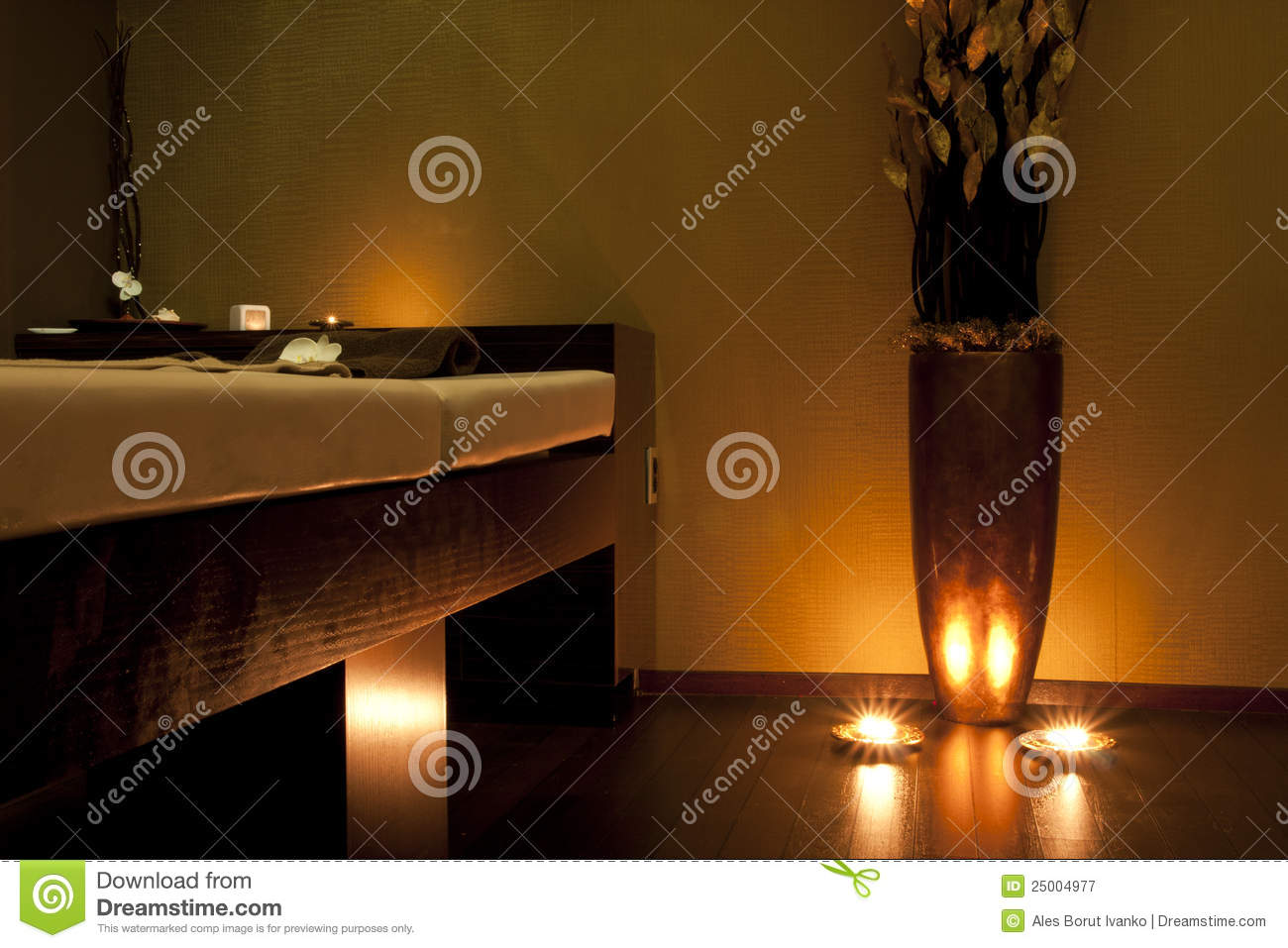 Spa Massage Room In Gold Stock Image Image Of Architect 25004977