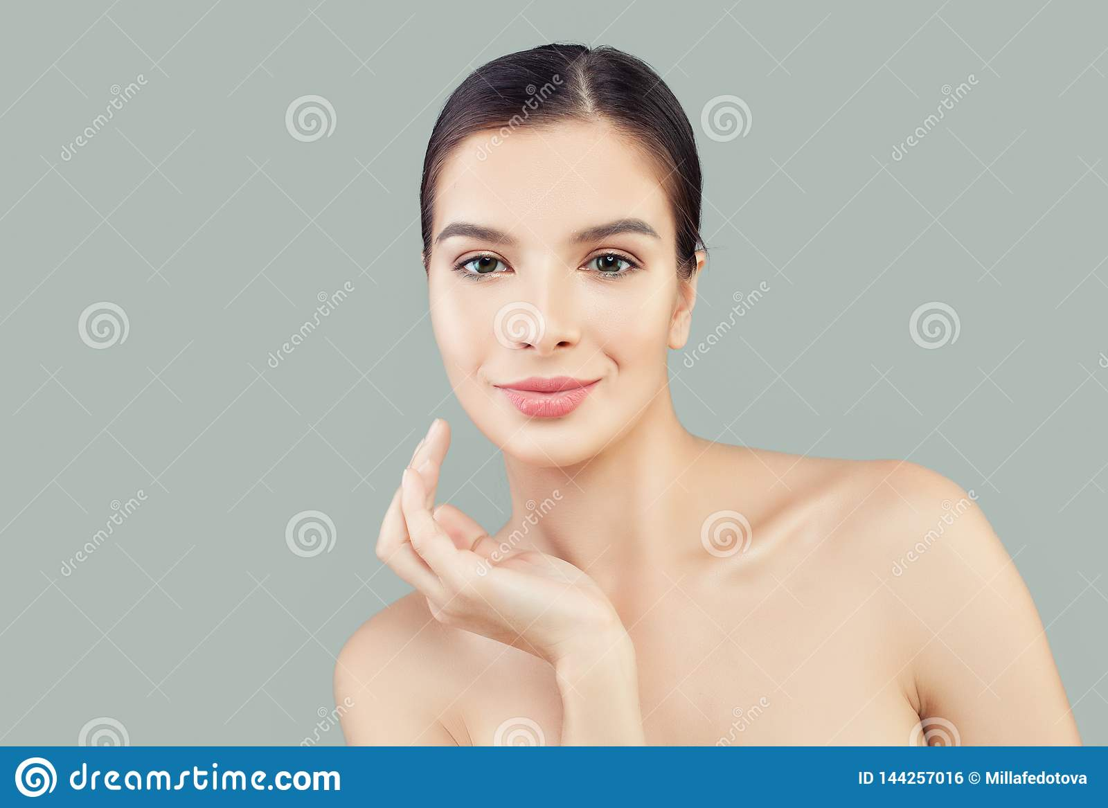 Spa model woman portrait. Facial treatment, face lifting, anti aging and skin care concept