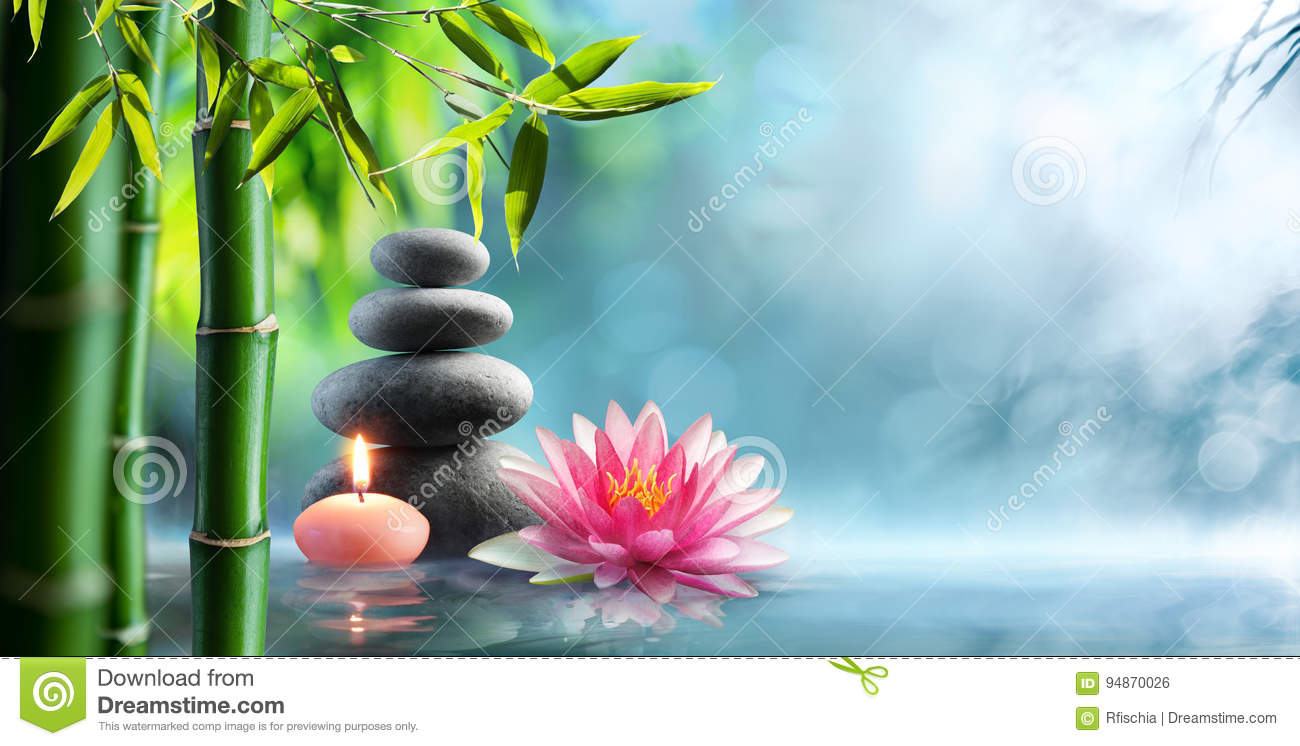 Spa - Natural Alternative Therapy With Massage Stones And Waterlily