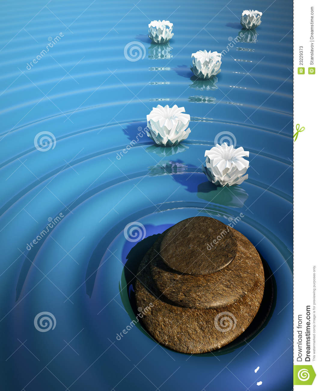 Relax Stone: Spa Relax Stone Zen Water Volcano Lily Stock Photos