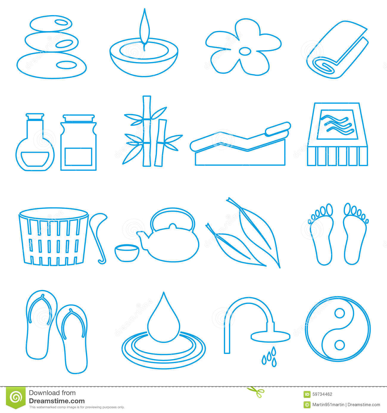Spa and relaxation simple blue outline icons set eps10 for Salon simple