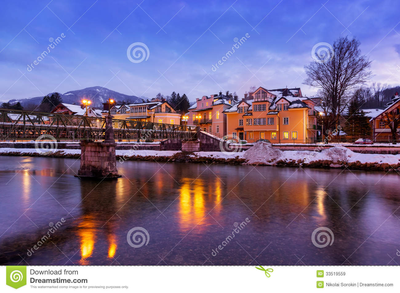 spa resort bad ischl austria at sunset stock image image 33519559. Black Bedroom Furniture Sets. Home Design Ideas