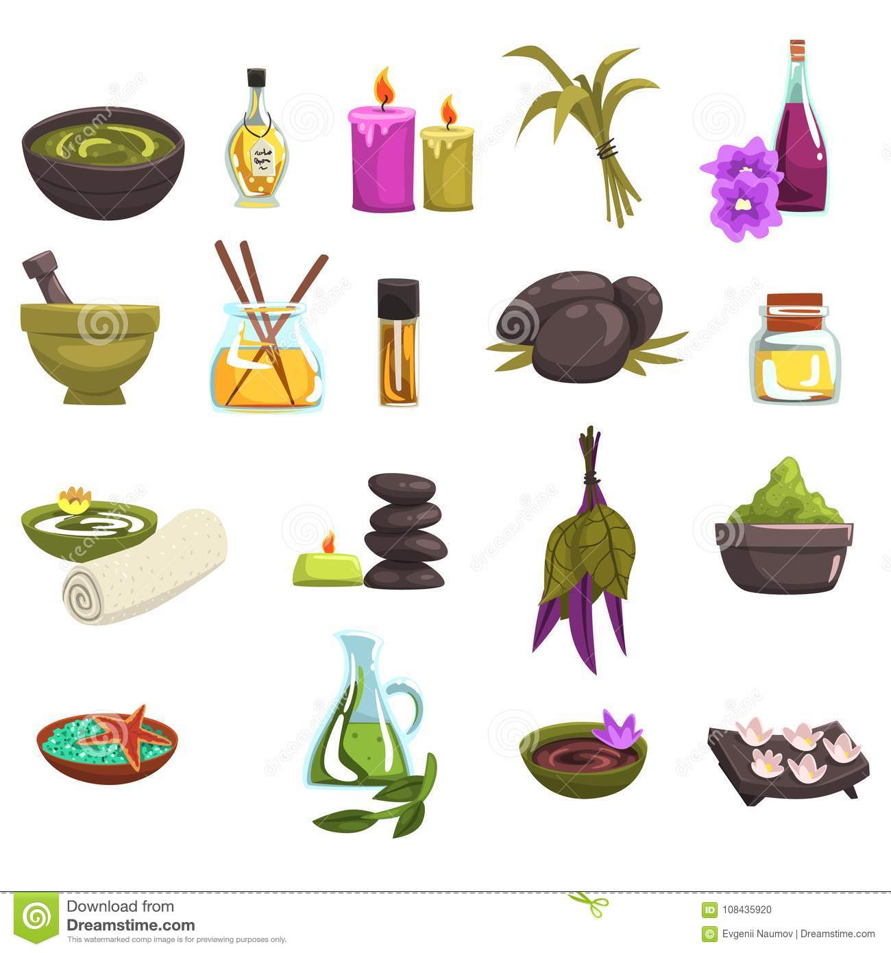 Spa Salon And Body Care Design Elements Set Oil And Herbs Candles Sea Salt Warm Stones Towel Flowers Beauty Stock Vector Illustration Of Medical Herbal 108435920