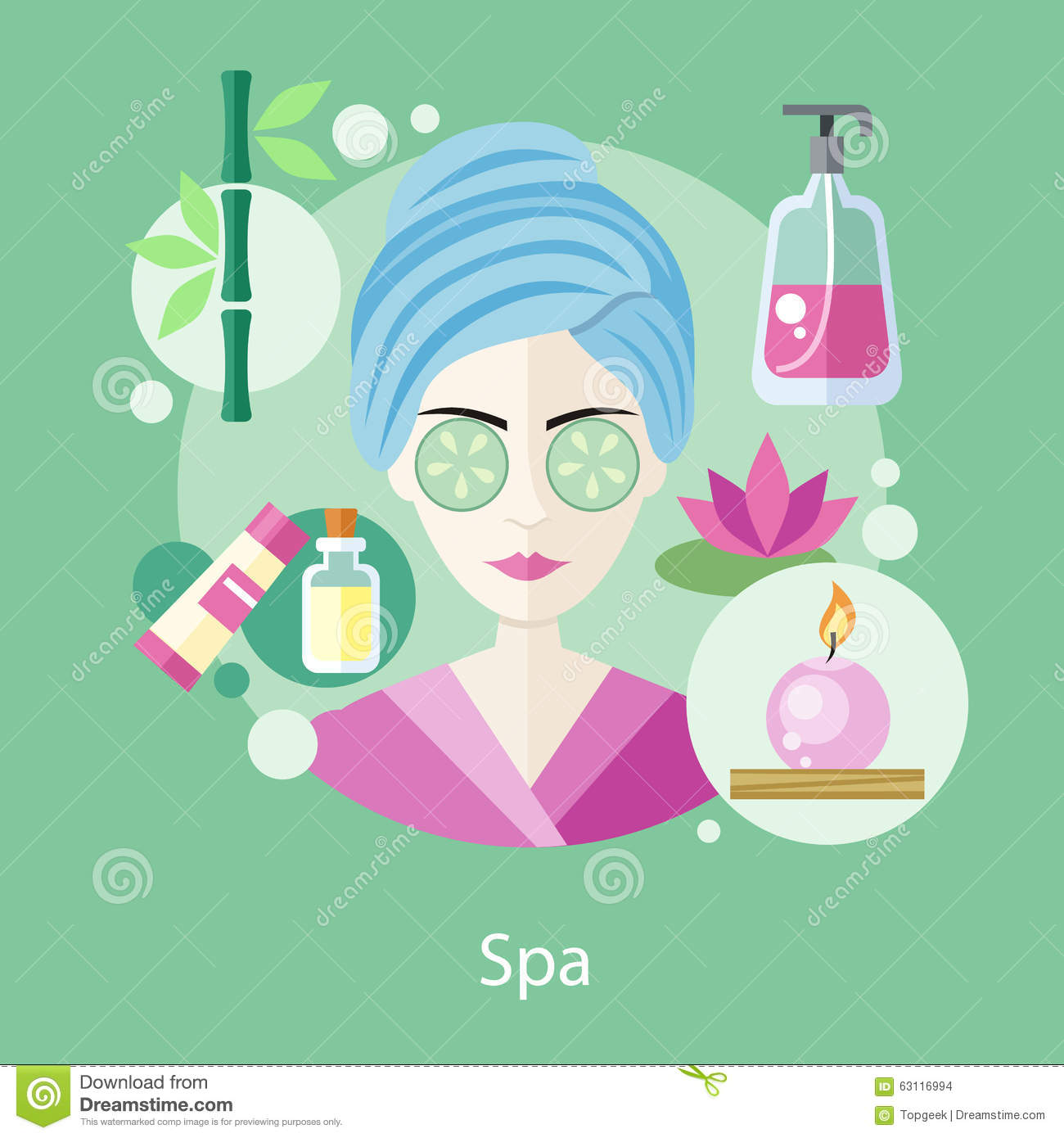 Fashion Nail Salon And Beauty Spa Games For Girls: Spa Salon Concept Flat Style Design Stock Vector
