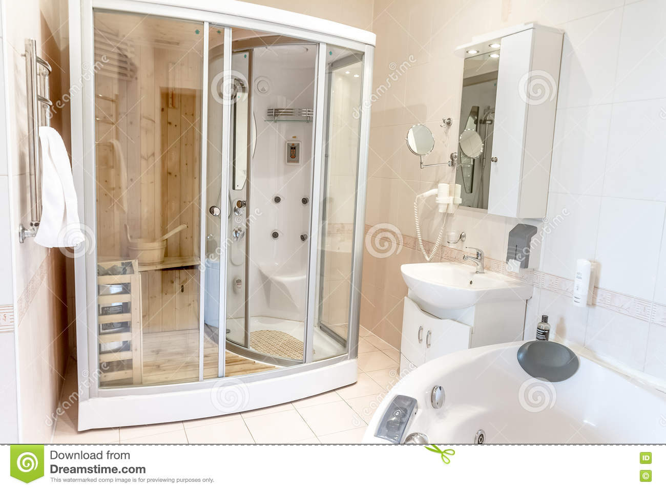 Spa Sauna Cabin In Bathroom, House Or Hotel Stock Photo - Image of ...