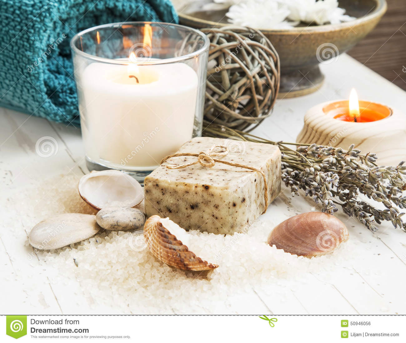 Spa Seashells Setting With Natural Soap And Candle Stock