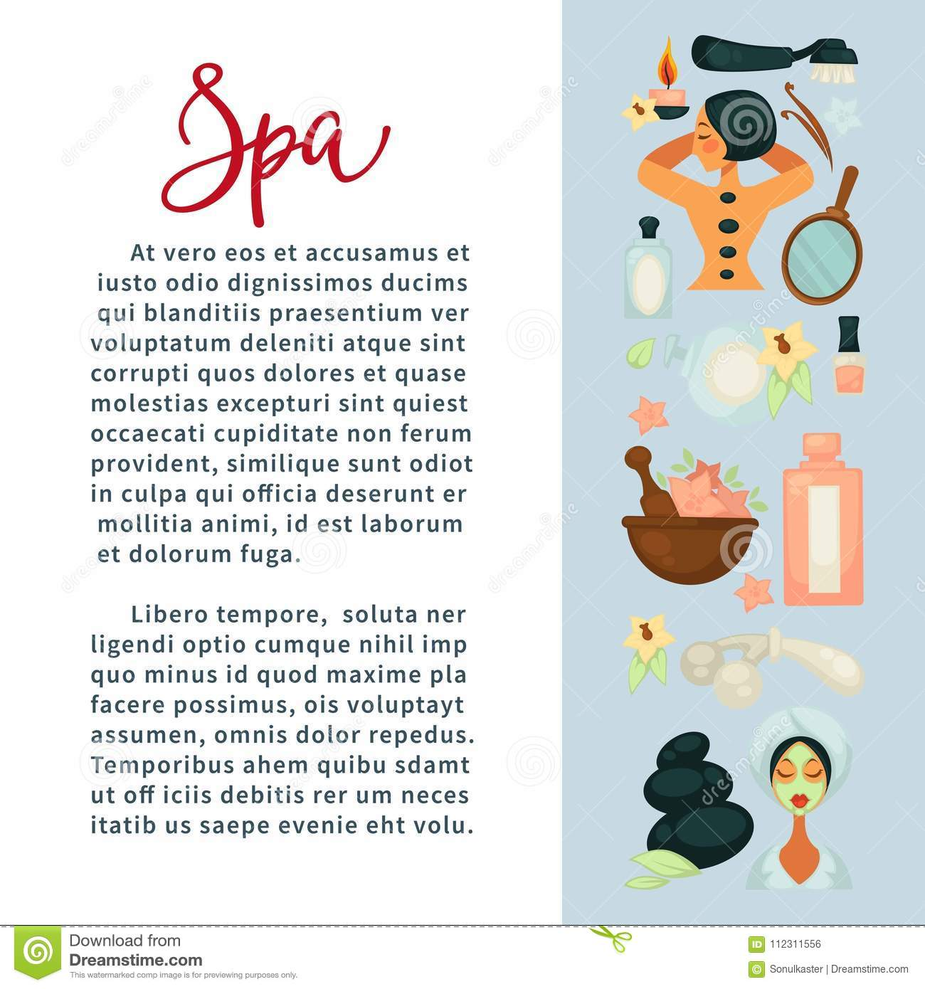 Spa Services Promotional Banner With Beauty Means And Sample Text Stock Vector Illustration Of Candle Banner 112311556