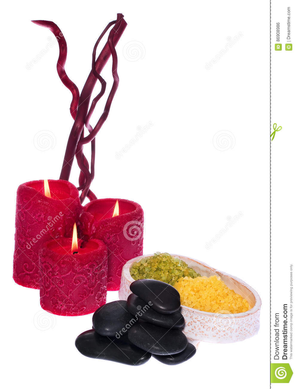 Spa set, aromatherapy candles, stones warming to the massage, s