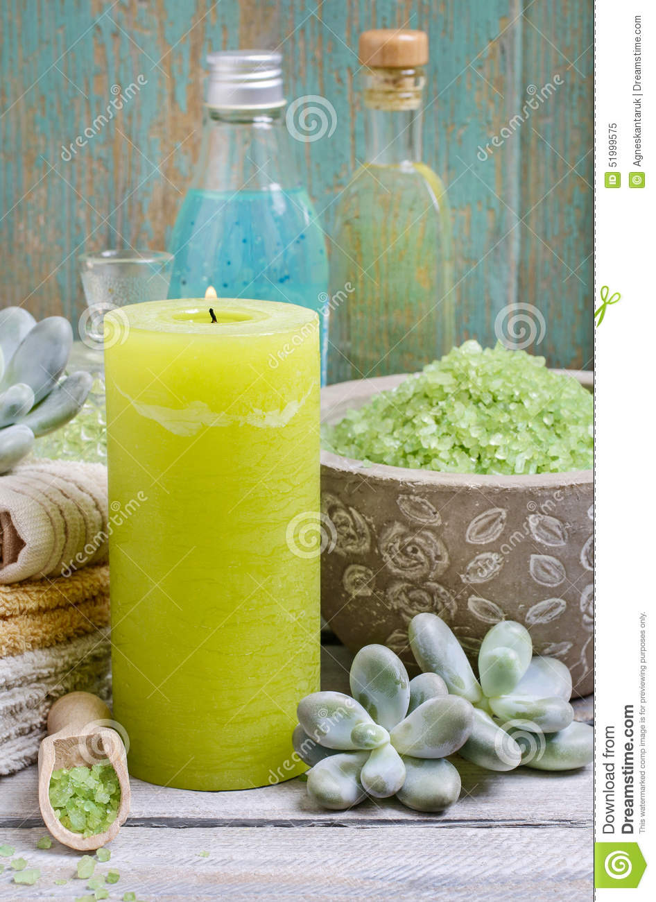 Spa set green sea salt scented candles liquid soap and for Spa smelling candles
