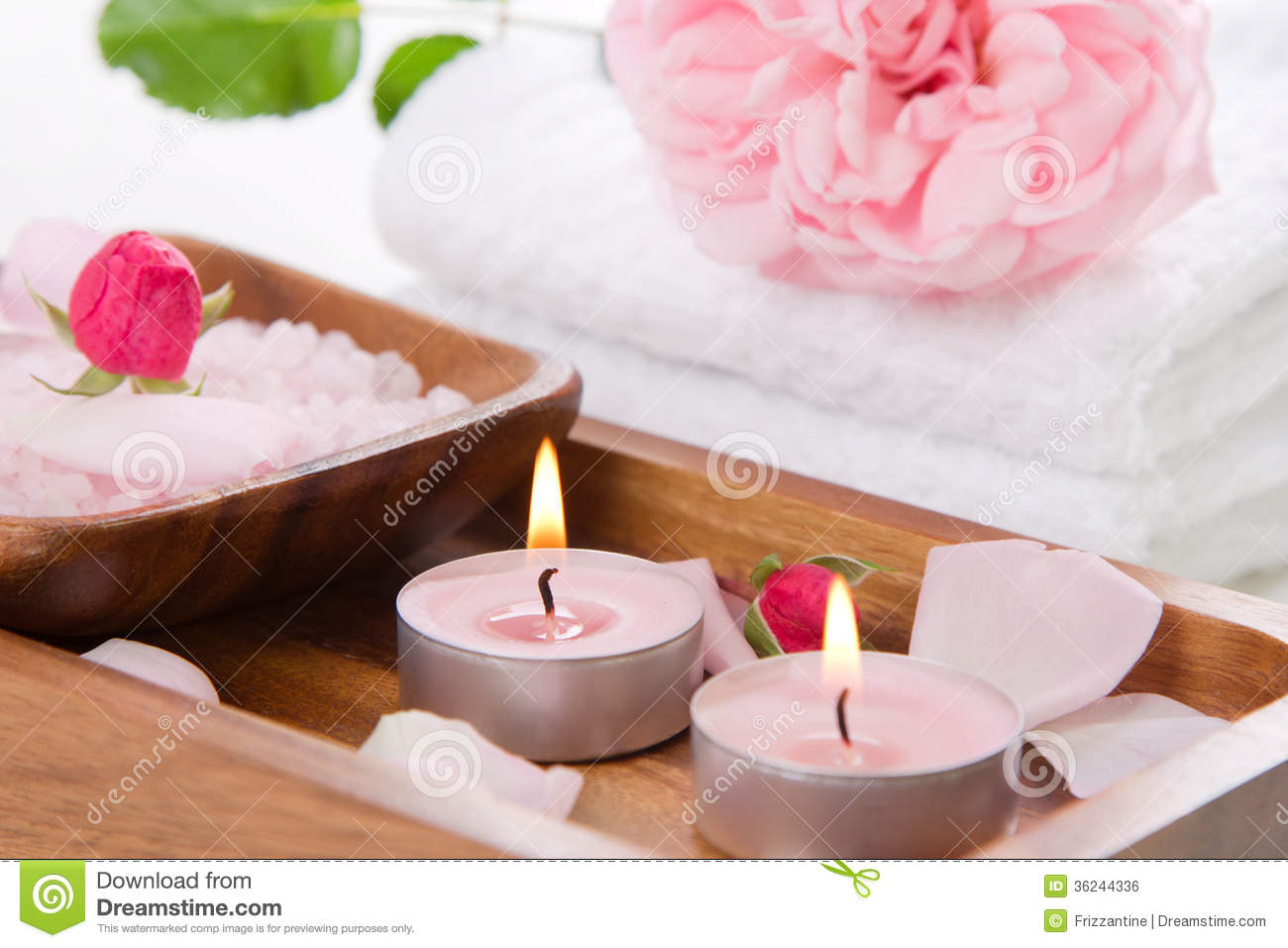 Spa Set With Pink Rose And Bath Salt Royalty Free Stock