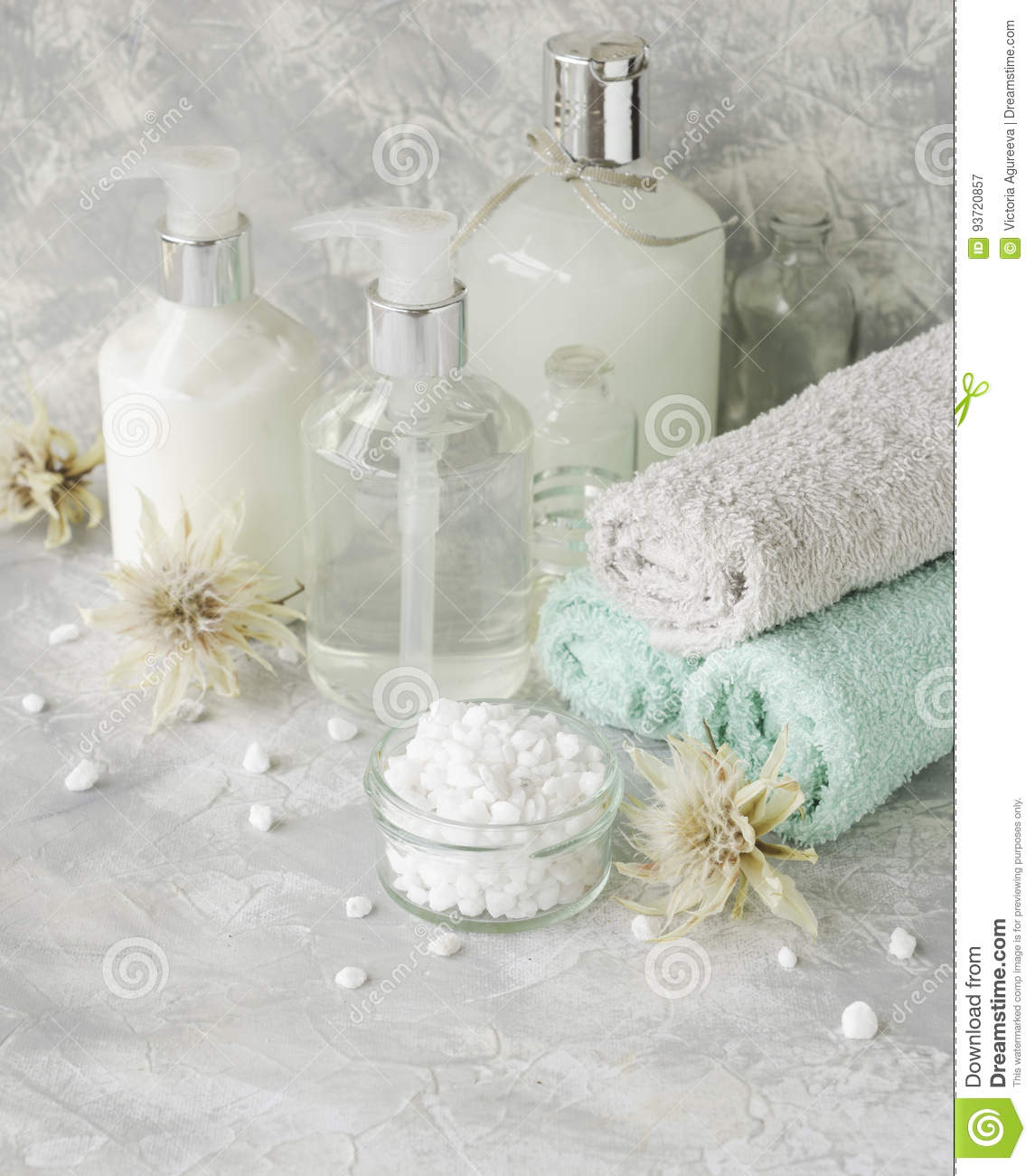 Spa Set On A White Marble Table With A Stack Of Towels, Selective ...