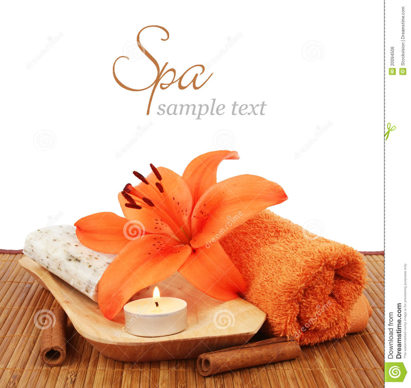 Spa setting over white background