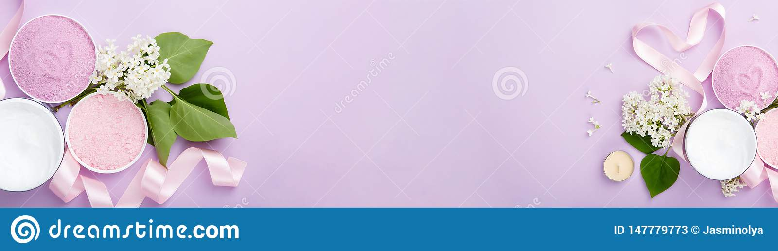Spa And Skin Care Products Banner Cream And Sea Bath Salt On Purple Background With Spring White Lilac Blossom Stock Image Image Of Fresh Nature 147779773